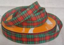 "12mm (1/2"") RED GREEN TARTAN GINGHAM cotton ribbon"